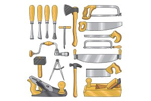Colored illustrations of carpentry tools. Wooden work