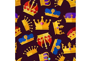 Luxury crowns set. Vector seamless pattern isolate on dark background