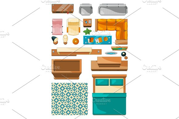 Diffe Icons Of Furniture Top View Vector Ilrations For Create Layout Apartment Graphics
