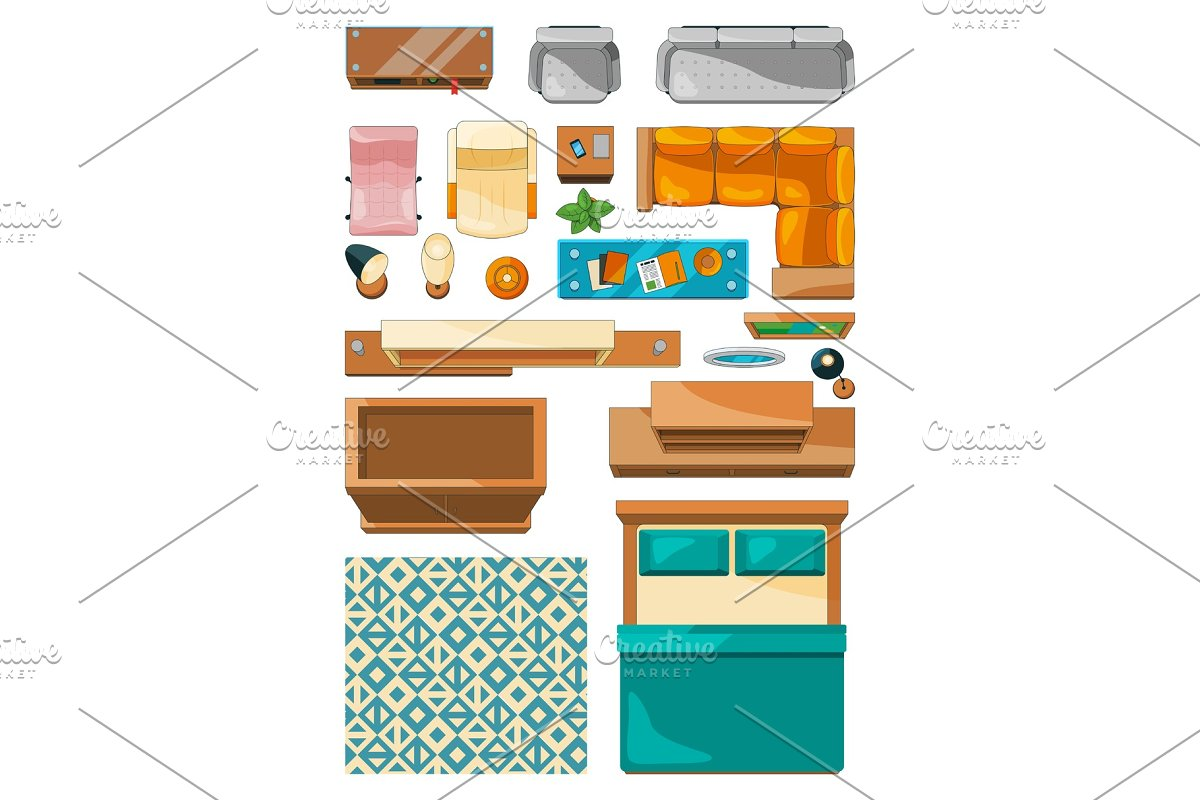 Different Icons Of Furniture Top View Vector Illustrations For Create Layout Of Apartment