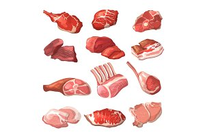Lamb, pork beef, and other meat pictures in cartoon style