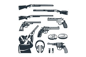 Vector set of monochrome pictures of different weapons and accessories for shooting club