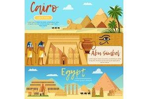 Horizontal banners of egypt landscape. Vector pictures set in cartoon style