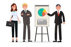 Group of Business People with Diagram on Poster
