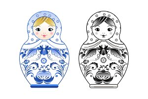 Vector pictures of russian matryoshka painted at gzhel style. Colored and linear illustrations