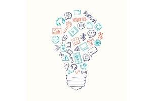 Vector light bulb formed of social media hand drawn elements