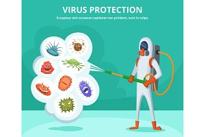 Concept illustration of viruses protection. Character in special clothing poisons microbes