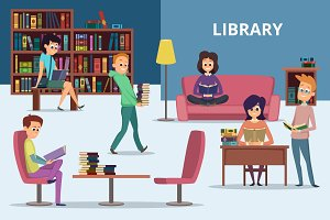 Students in library. Peoples reading books. Vector characters set