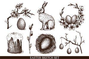 Hand drawn Easter sketch set