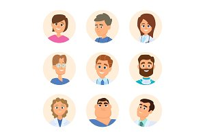 Medical nurses and doctors. Avatars in cartoon style