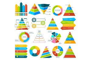 Big vector collection of infographic elements. Pie charts, graphs, diagram and triangles