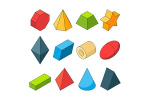 Colorful isometric pictures of geometry shapes. Christal, cylinder, prism and others