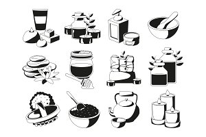 Spa and health illustrations set in monochrome style. Vector pictures isolate on white background