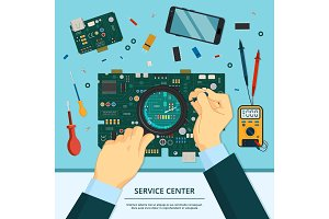 Concept illustration of technician service. Hands with magnifying glass and a soldering iron. Motherboard repair