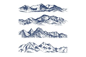 Hand drawn illustrations of different mountains landscape