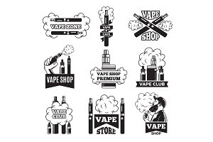 Badges and labels with illustrations of vapor from electric cigarette. Pictures for vaping club or shop