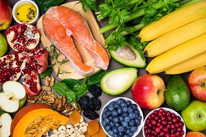 Background healthy food for heart