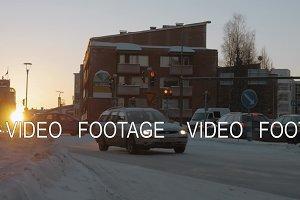 Rovaniemi road scene in winter, Finland