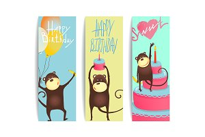 Monkey Cards with Birthday Lettering