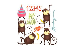 Birthday Monkey Fun Cartoon in Poses