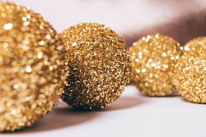 Close-up of yellow Christmas balls