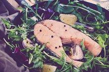 Salmon steak with fresh vegetables