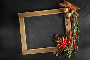 Herbs and spices with chalk board
