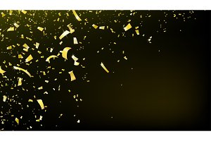 Confetti falling motion background. Shiny gold flying tinsel for party