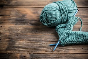 Yarn with knitting needles