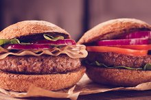Two burgers close up.