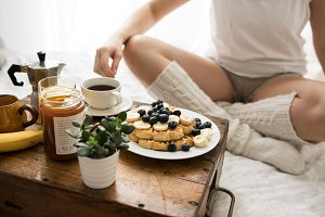 Cozy winter breakfast in bed IX