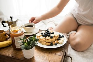 Cozy winter breakfast in bed VIII
