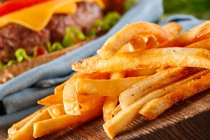 French fries and burger
