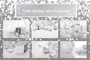Trendy Christmas Silver background