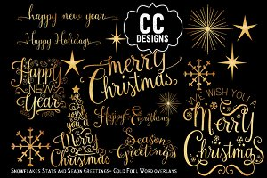 Christmas Gold Foil Text Words