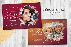 2 Photo Christmas Cards / Background