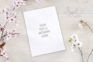 Pink flower Invitation mockup