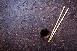 Soy sauce and sushi chopsticks