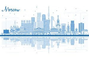 Outline Moscow Russia Skyline