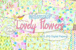 Lovely Flowers - Watercolor patterns