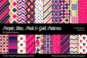 Purple Blue Pink Gold Digital Papers
