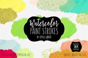 Citrus Splash Watercolor Paint Forms