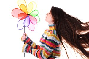 Girl with colorfull windmill