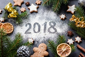 New Year 2018 greeting card or background with festive holiday decorations