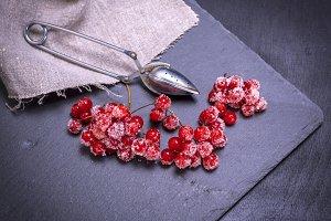 ripe red berries of the viburnum