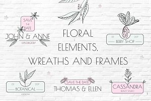 Floral elements, wreaths and frames