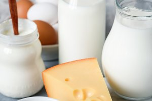 Dairy products on marble background