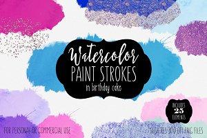 Birthday Cake Watercolor Splatters