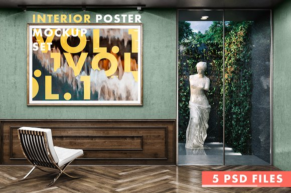 Interior Poster MockUp Set-Graphicriver中文最全的素材分享平台