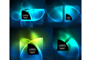 Round glowing elements, digital techno abstract background set